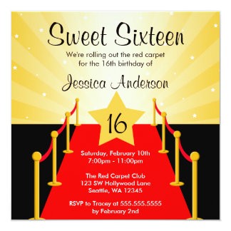 "Red Carpet Hollywood Sweet 16 Birthday Party 5.25"" Square Invitation Card"