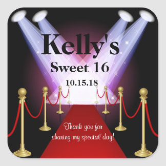 Red Carpet Hollywood Sweet 16 Party Favor Labels