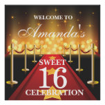 Red Carpet Hollywood Sweet 16 Welcome Poster