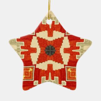 Red carpet pattern #1 ceramic star ornament