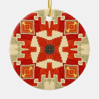 Red carpet pattern #1 round ceramic ornament
