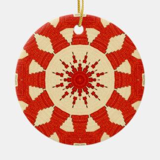 Red carpet pattern #2 round ceramic ornament