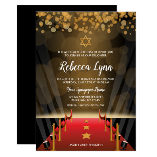 Red Carpet Star Hollywood Bat Mitzvah Invitations