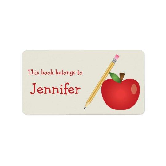 Red Cartoon Apple And Yellow Pencil & Custom Name