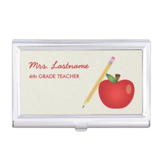Red Cartoon Apple And Yellow Pencil & Custom Name Business Card Holder