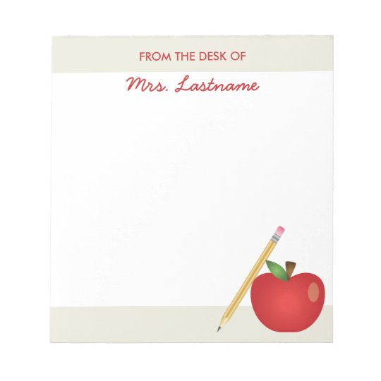 Red Cartoon Apple And Yellow Pencil & Custom Name Notepad