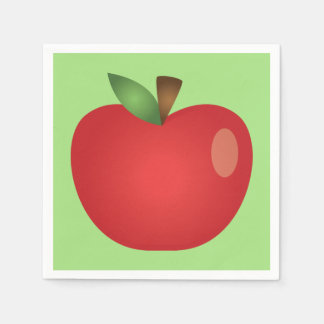 Red Cartoon Apple On Green Paper Napkin