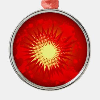 Red Cartoon Explosion Metal Ornament