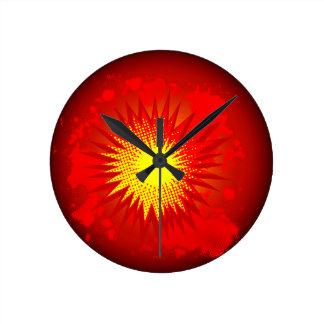 Red Cartoon Explosion Round Clock