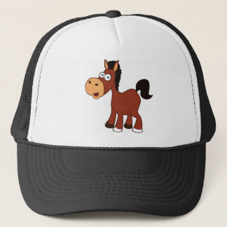 red cartoon horse trucker hat