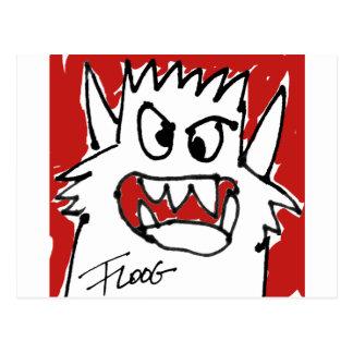 Red Cartoon Monster Postcard