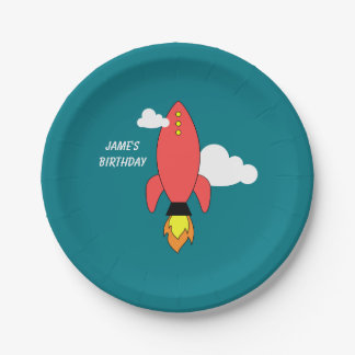Red cartoon rocket 7 inch paper plate