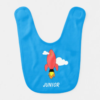 Red cartoon rocket baby bib
