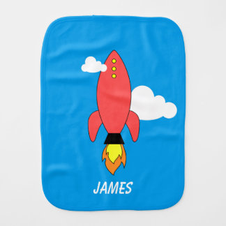 Red cartoon rocket baby burp cloths
