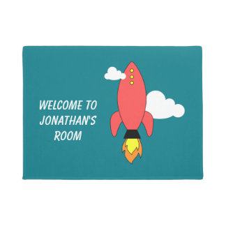 Red cartoon rocket doormat