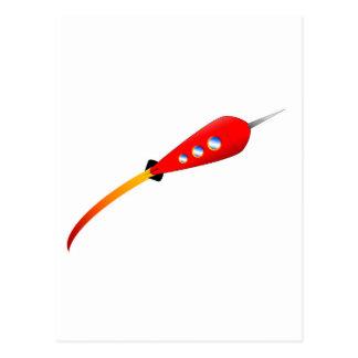 Red Cartoon Rocket Postcard