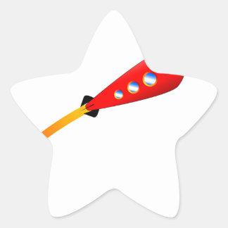 Red Cartoon Rocket Star Sticker