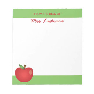 Red Cartoon School Apple With Custom Name Notepad