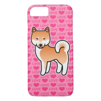 Red Cartoon Shiba Inu Love iPhone 8/7 Case