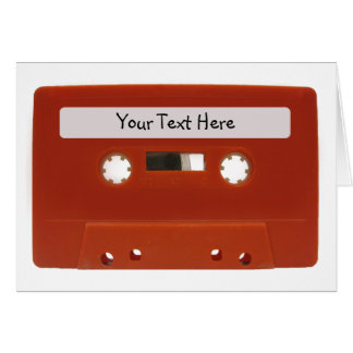 Red Cassette Tape Customizable Card
