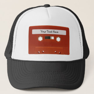 Red Cassette Tape Customizable Hat