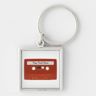 Red Cassette Tape Customizable Keychain