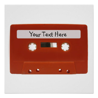 Red Cassette Tape Customizable Poster