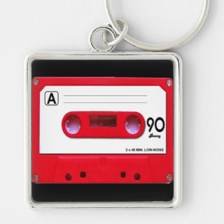 Red Cassette Tape Silver-Colored Square Keychain