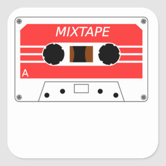 Red Cassette Tape Square Stickers