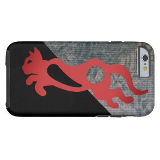 RED CAT ON BLACK by Slipperywindow Tough iPhone 6 Case
