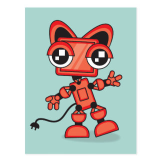 Red Cat Robot Postcard