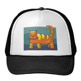 Red Cat w Yellow Stripes Trucker Hat