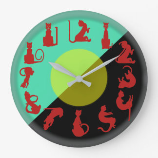 RED CATS on BLACK and GREEN  by Slipperywindow Wallclock