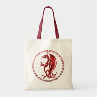Red Celtic Dragon Tote Bag
