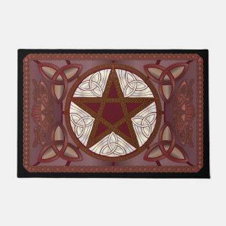 Red Celtic Pentagram, Tri-Quatras & Birds #1 Doormat