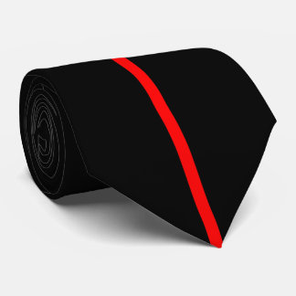 Red Centered Thin Vertical Line on Black Tie