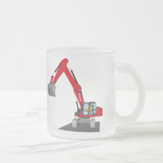 red chain excavator frosted glass coffee mug