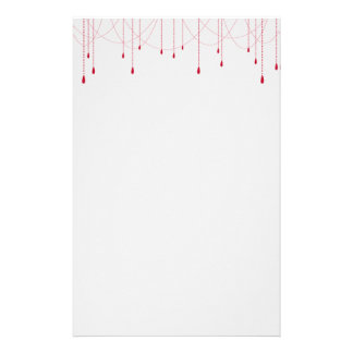 Red Chains Hanging with Ruby Drops Stationery