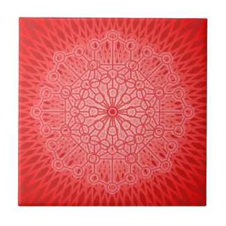 Red Chakra Mandala Sacred Geometry Tile