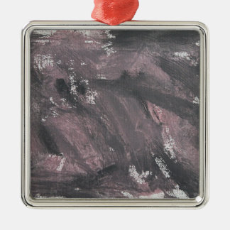Red Chalk and Black Ink Metal Ornament