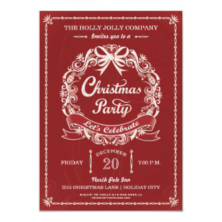 Red Chalkboard Christmas Party Wreath Card