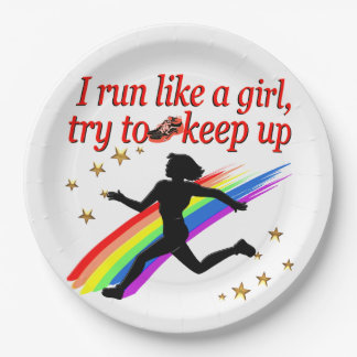 RED CHAMPION GIRL TRACK AND FIELD DESIGN 9 INCH PAPER PLATE