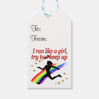 RED CHAMPION GIRL TRACK AND FIELD DESIGN PACK OF GIFT TAGS