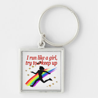 RED CHAMPION GIRL TRACK AND FIELD DESIGN Silver-Colored SQUARE KEYCHAIN