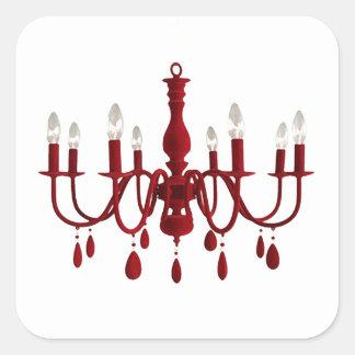 Red Chandelier ~ Square Sticker
