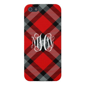 Red Charcoal Blk Diag Plaid Check NL Vine Monogram iPhone 5 Cases