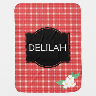 Red check and white flower baby girls blanket