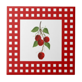 Red Check Cherry Tile