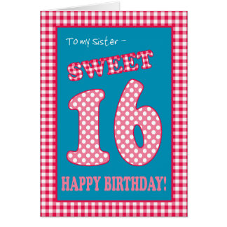 Red Check Polkas Sweet 16th Birthday for Sister Card