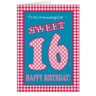 Red Check Polkas Sweet 16th Birthday Granddaughter Card